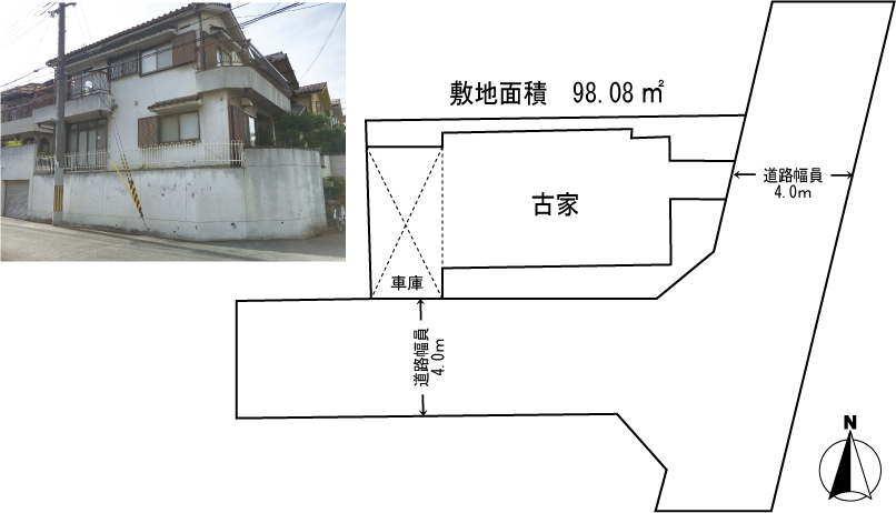 茨木市沢良宜西3丁目土地 (古家付売土地)
